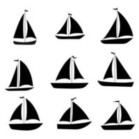 Yacht, sailboats set. Black silhouette isolated on white background. Stock vector illustration.