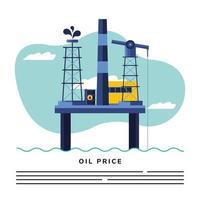 petroleum platform and oil price lettering vector