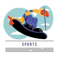 athlete practicing snowboard sport character vector