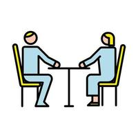 business couple avatars in table characters vector
