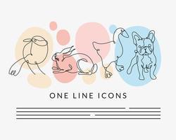 set animals one line style icon vector