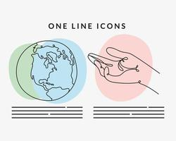 hand receiving and earth planet one line style icon vector