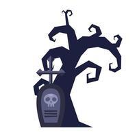 dark tree halloween with graveyard vector