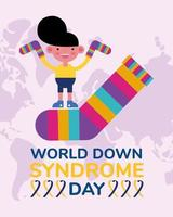 world down sindrome day campaign poster with little boy and socks colors vector