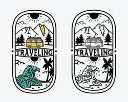 holiday retro outdoor adventure, vintage adventure set logo template with travel car. vector