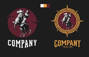 cowboy logo riding i horse with hat, vintage and rustic adventure set logo template vector