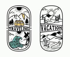 vacation retro outdoor , vintage adventure set logo template exploring nature. vector
