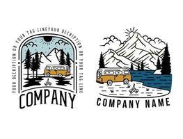 Outdoor adventure retro t shirt design, set vintage adventure logo template with trip car. vector