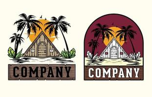 flat illustration style cabin vector graphics, summer design for t-shirt artwork