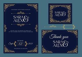 Wedding Invitation, Elegant and rustic wedding set vector illustration, blue and gold color invitation card