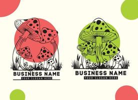 logo mushrooms , logo template. Vector illustration.Hand drawn vector illustration mushrooms