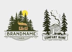 Cabin and forest template logo design, House real estate Vintage Style. vector