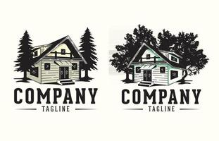 Cabin logo vector graphics, with tree versions of the logo for house rental companies and construction design
