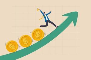 Las ganancias y ganancias de la inversión, el crecimiento del mercado de valores o el flujo de fondos dependen de la tasa de interés y el concepto de inflación, empresario inversionista, administrador de fondos con bandera, monedas de dinero de plomo subiendo un gráfico ascendente vector
