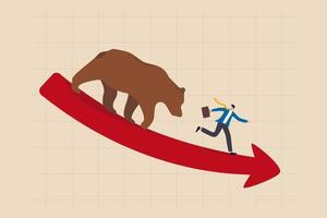 Bear market, stock decline by economic crisis, recession or bubble burst, crypto currency price going down concept, businessman investor sell all stocks and run away from bear on red decline graph. vector