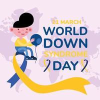 world down sindrome day campaign poster with little boy seated in ribbon vector