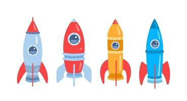 Space rocket. Cartoon flat illustration isolated on white background. Set. Vector illustration
