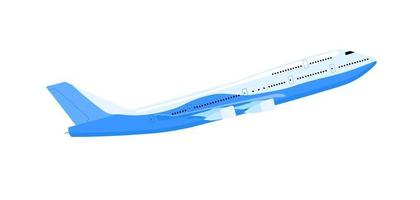 Airplane passenger frontal view. Airplane flight forward in the air. Passenger Transportation. Isolated vector illustrations on white background