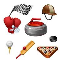 Sport icons. Golf, bast shoes, hockey, racing, boxing, horse racing, curling, various sports. Icon set. Vector isolated illustration