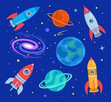 Space with planets, stars, galaxies and flying rockets. Set on a space theme in a cartoon flat style on a dark background. Pattern. Vector illustration