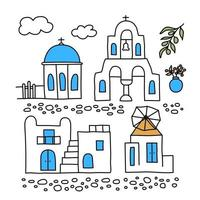 Santorini. Greece. Buildings of traditional architecture. Traditional Greek white houses with blue roofs, churches, mills and flowers. Doodle style. Vector illustration isolated on white background.