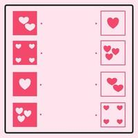 Educational puzzle game making connecting lines for finding the correct pairs. Geometric heart love shape. Brain training worksheet for kids vector