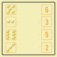 Educational puzzle game making connecting lines for finding the correct pairs. Cute Duck Toy Icon. Brain training worksheet for kids vector