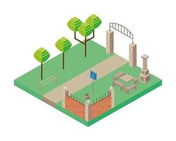 arch entrance and table park scene Isometric style icon vector