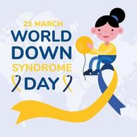 world down sindrome day campaign poster with little girl lifting balloon helium in ribbon vector