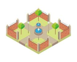 park with water fount scene Isometric style icon vector