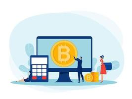 People Investments for bitcoin and blockchain. mining, currency, Bitcoin digital business concept vector illustrator.