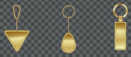 realista detallado 3d plantilla vacía brillante dorado conjunto de llavero para casa y coche. vector eps 10