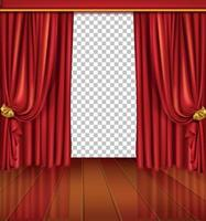 Theater stage with red curtain and wooden floor. Vector EPS 10