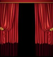 Realistic open red curtains with shadows and black hole instead of scene behind the curtains. Vector EPS 10