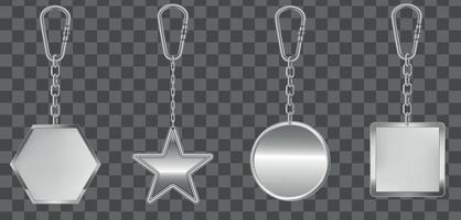 Realistic Detailed 3d Empty Template Metallic Steel Keychain Set Symbol of Access. Vector EPS 10