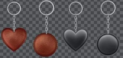 realista vector negro, marrón, llaveros de cuero en diferentes formas aisladas sobre fondo transparente. vector eps 10