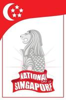 National Day of Singapore banner with Merlion official mascot of Singapore vector