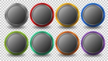Set of rounded circle button with metal frame vector