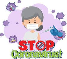 Stop Coronavirus banner with patient wearing medical mask vector
