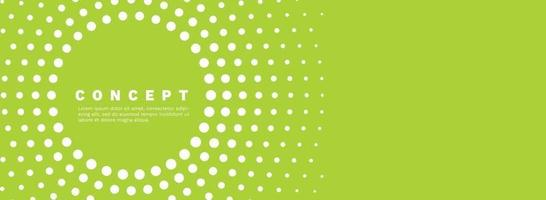 Abstract green gradient vector banner. Halftone dotted minimal contemporary long background