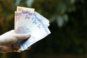 Mano de una mujer sosteniendo billetes brasileños en un jardín. foto