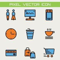 set of 9 color basic shopping icons outline thin line icons such as human computer drinking and shopping bag and cart vector