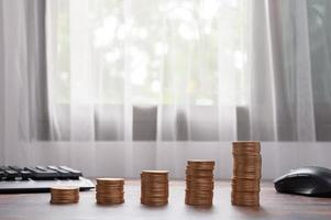 concept coin stacked investment stock business growth photo