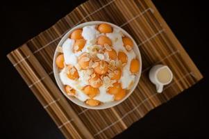 Bingsu shaved ice with melon fruit photo