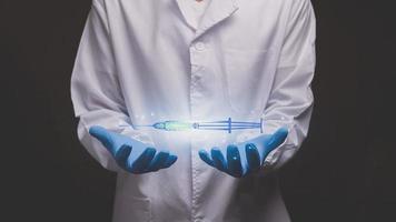 doctor touching electronic hologram Syringemodern virtual screen 3D illustration photo