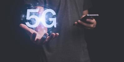 5G signal communication system 3D illustration photo