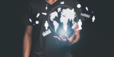 Los empresarios trabajan, invierten y se comunican en todo el mundo ilustración 3d foto