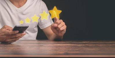 Customers give a five star service satisfaction rating illustration photo