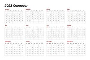 2022 calendar template with line vector