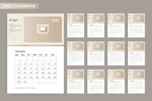 2022 calendar template 12 month with frame vector